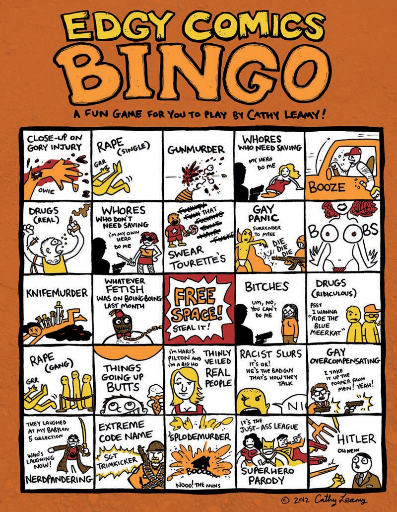 Edgy Comics Bingo - a Bingo card poking fun at ultraviolent comic books